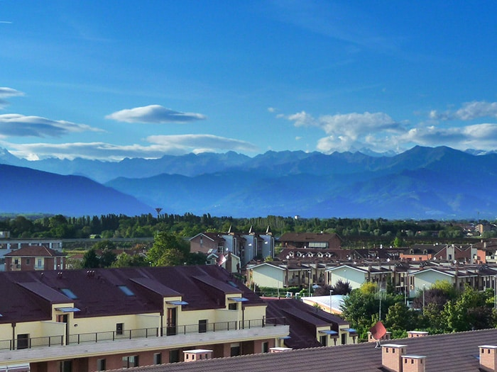 The Alps dominate the skyline in this part of the...