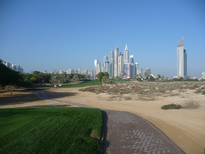 A look down the 8th hole, with the famous Dubai...
