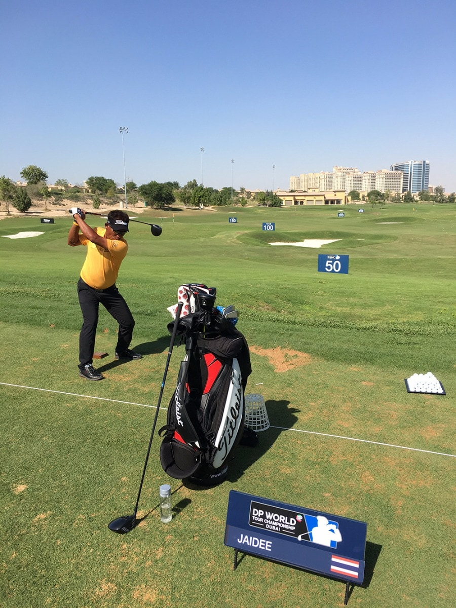 Thongchai is playing with a new driver shaft this...