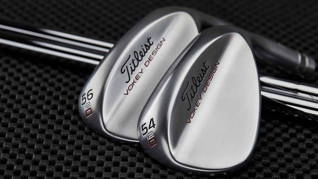 Close-up photo of new Vokey SM7 54.12 and 56.12 D Grind wedges