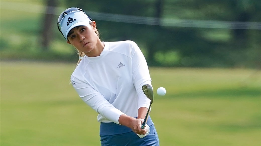 Danielle Kang hits a soft chip shot with her Pro V1x golf ball during action at the 2019 Buick LPGA Shanghai