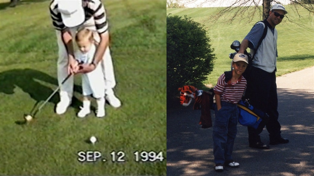 Childhood photos of Justin Thomas learning to play golf from his father, PGA Master Professional Mike Thomas
