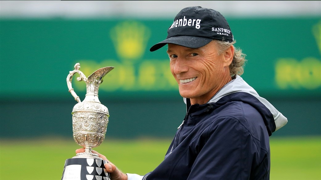 Bernhard Langer is all smiles after winning his 11th senior major title at the 2019 Senior Open Championship