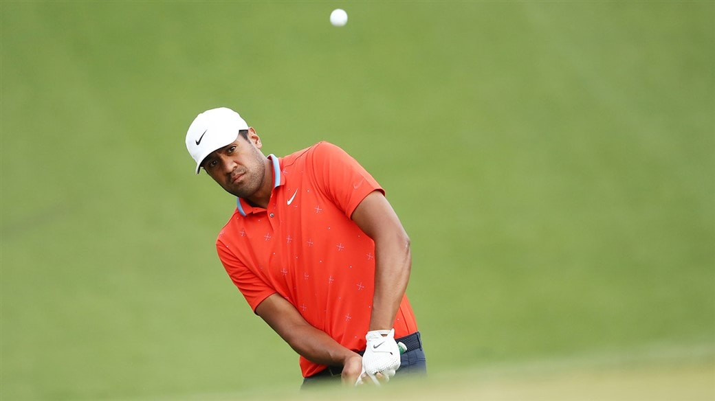 Tony Finau chips his Pro V1 golf ball at the WGC-Dell Technologies Match Play