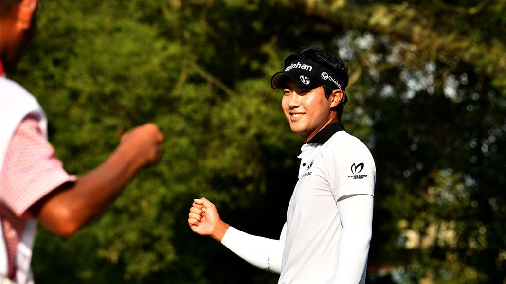 Yikuen Chang smiles after he sinks the winning putt with his Pro V1x golf ball at the 2019 Yeangder TPC