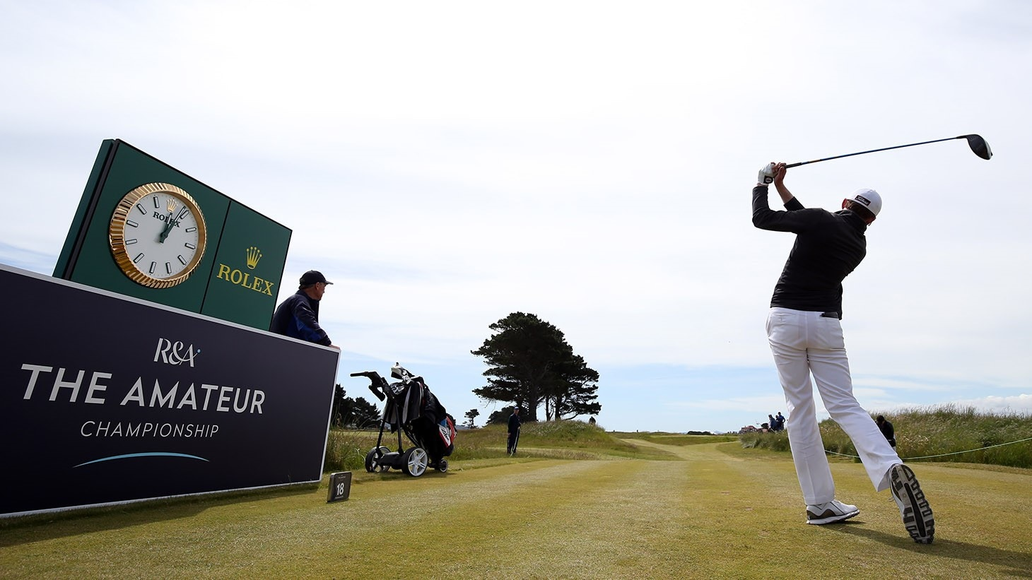 An amateur competitor tees off during the R&A Amateur Championship at Portmarnock