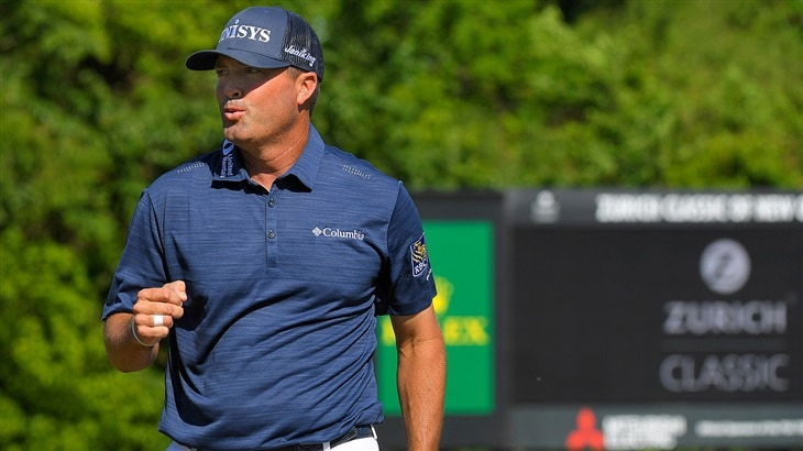 Titleist Pro V1x layer Ryan Palmer celebrates after sinking key putt in victory at 2019 Zurich Classic of New Orleans